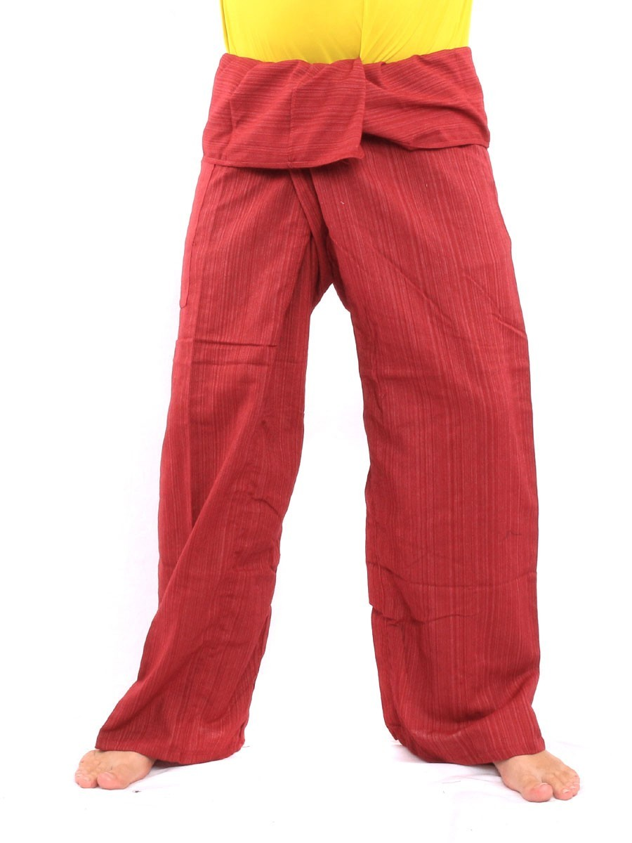 Thai Fisherman Pants Single Color Size With One Side Pocket X-Long Red