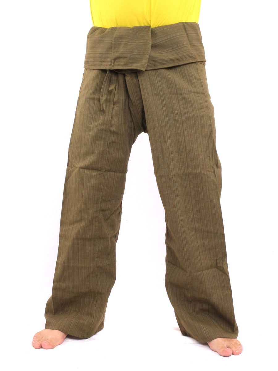 Thai Fisherman Pants Single Color Size With One Side Pocket X-Long Green