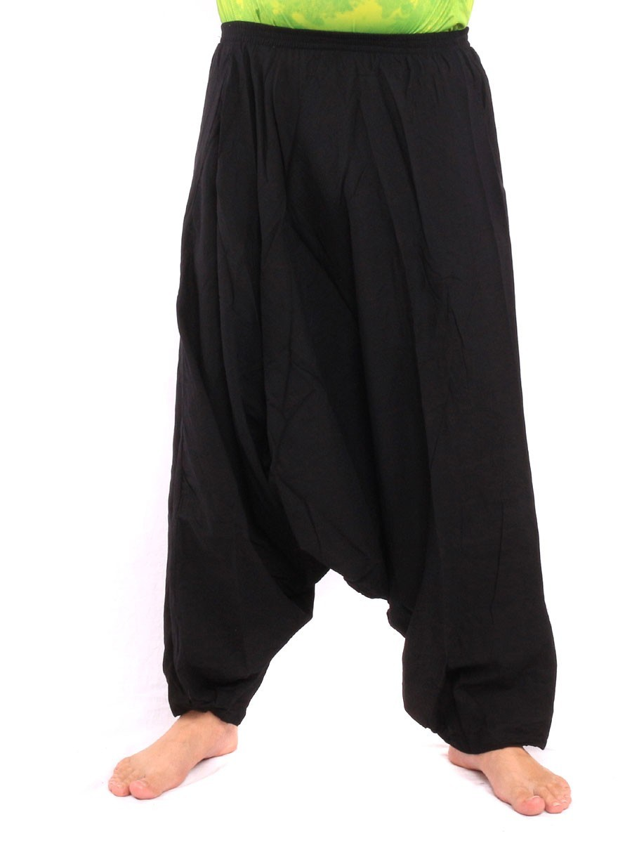 High Cut Ballon Aladdin Pants With Elasticated Waist And Ankles One Size Black