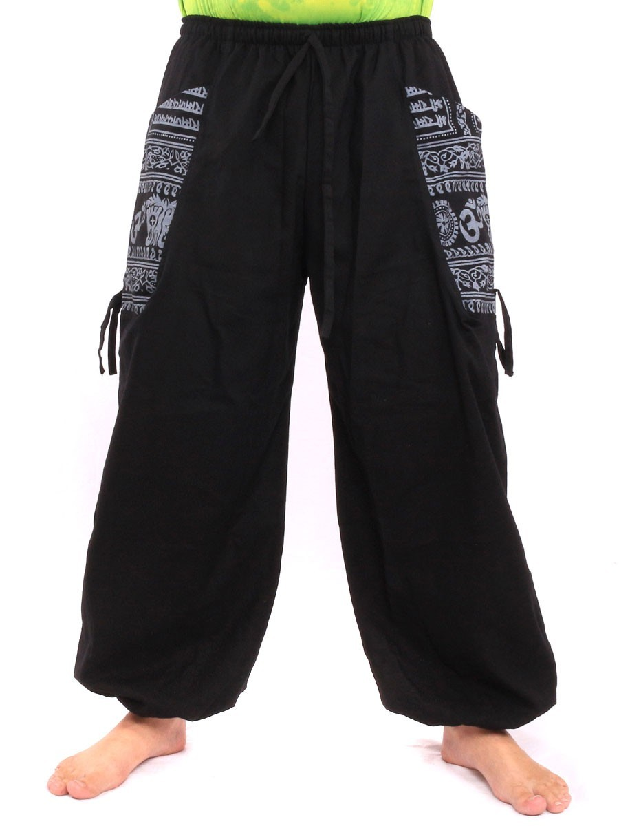 High Cut Harem Pants With 2 Large Side Pockets And Ethnic Prints One Size Black