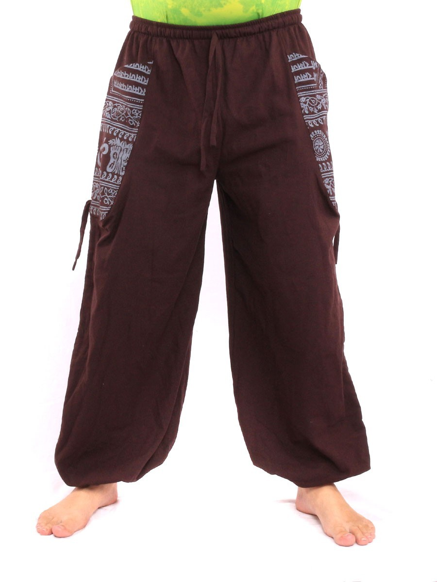 High Cut Harem Pants With 2 Large Side Pockets And Ethnic Prints One Size Brown