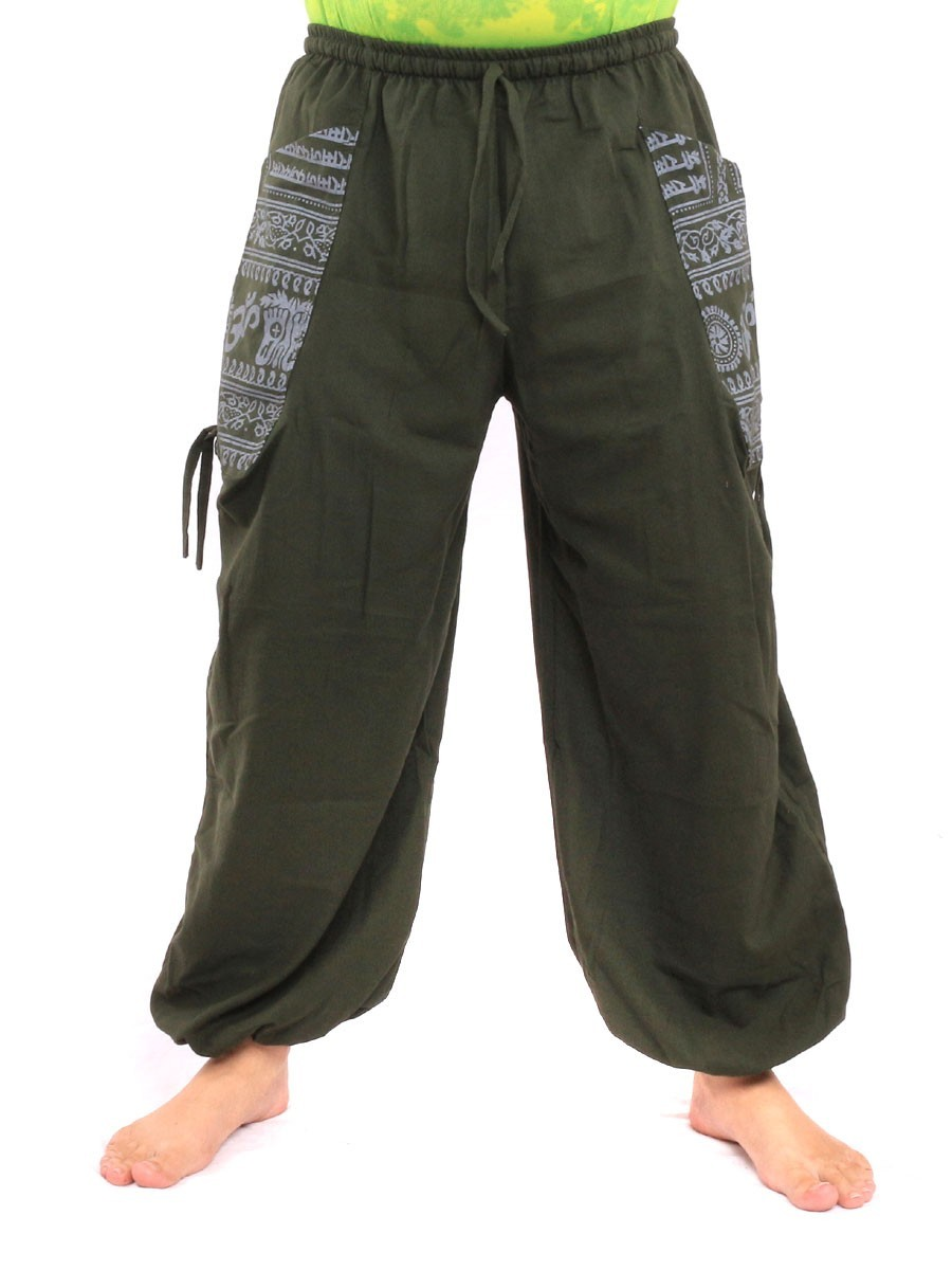 High Cut Harem Pants With 2 Large Side Pockets And Ethnic Prints One Size Green