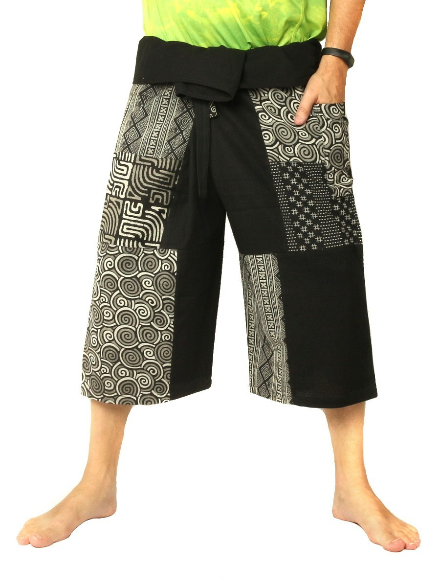 Thai Fisherman Wrap Pants Short Patchwork Black