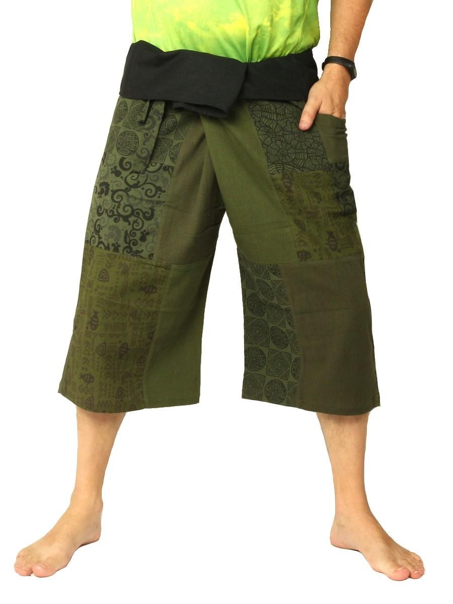 Thai Fisherman Wrap Pants Short Patchwork Olive Green