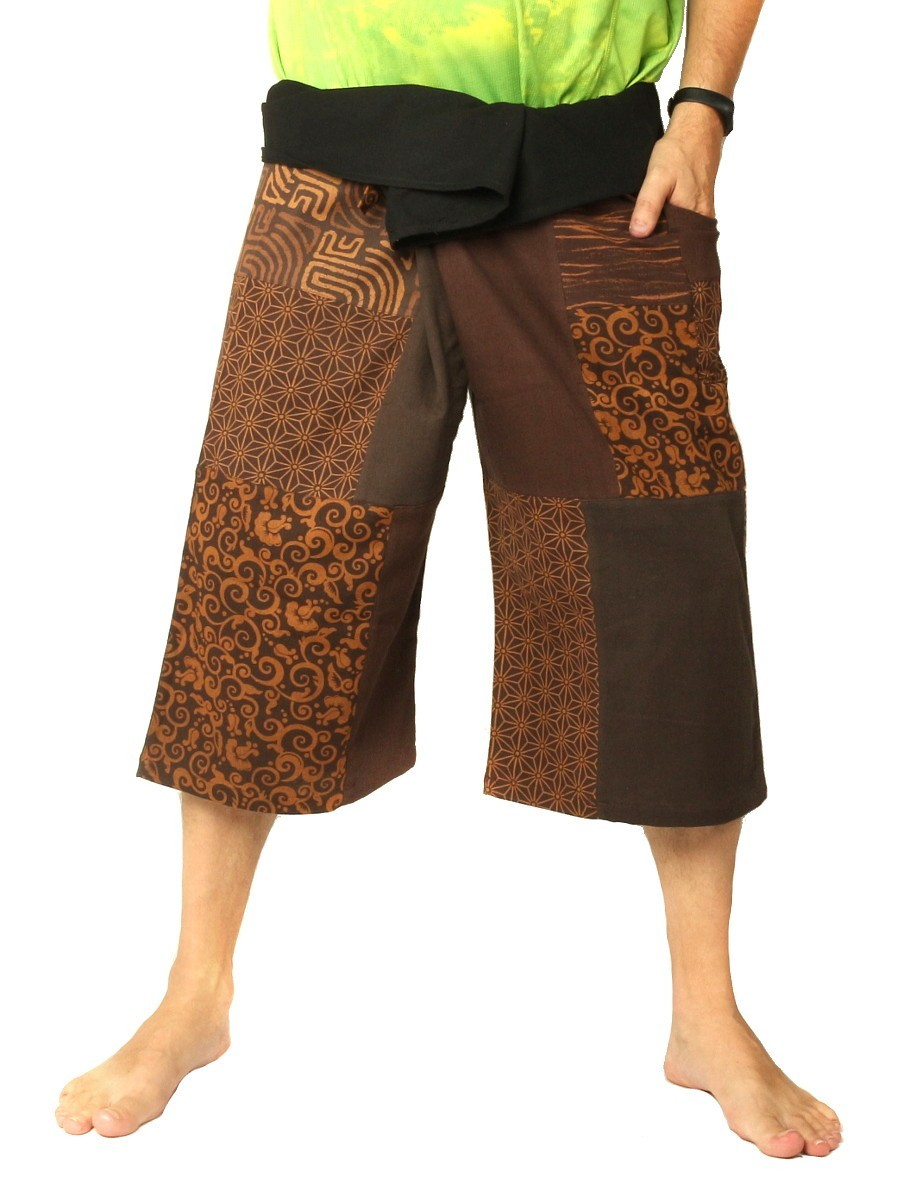 Thai Fisherman Wrap Pants Short Patchwork Brown