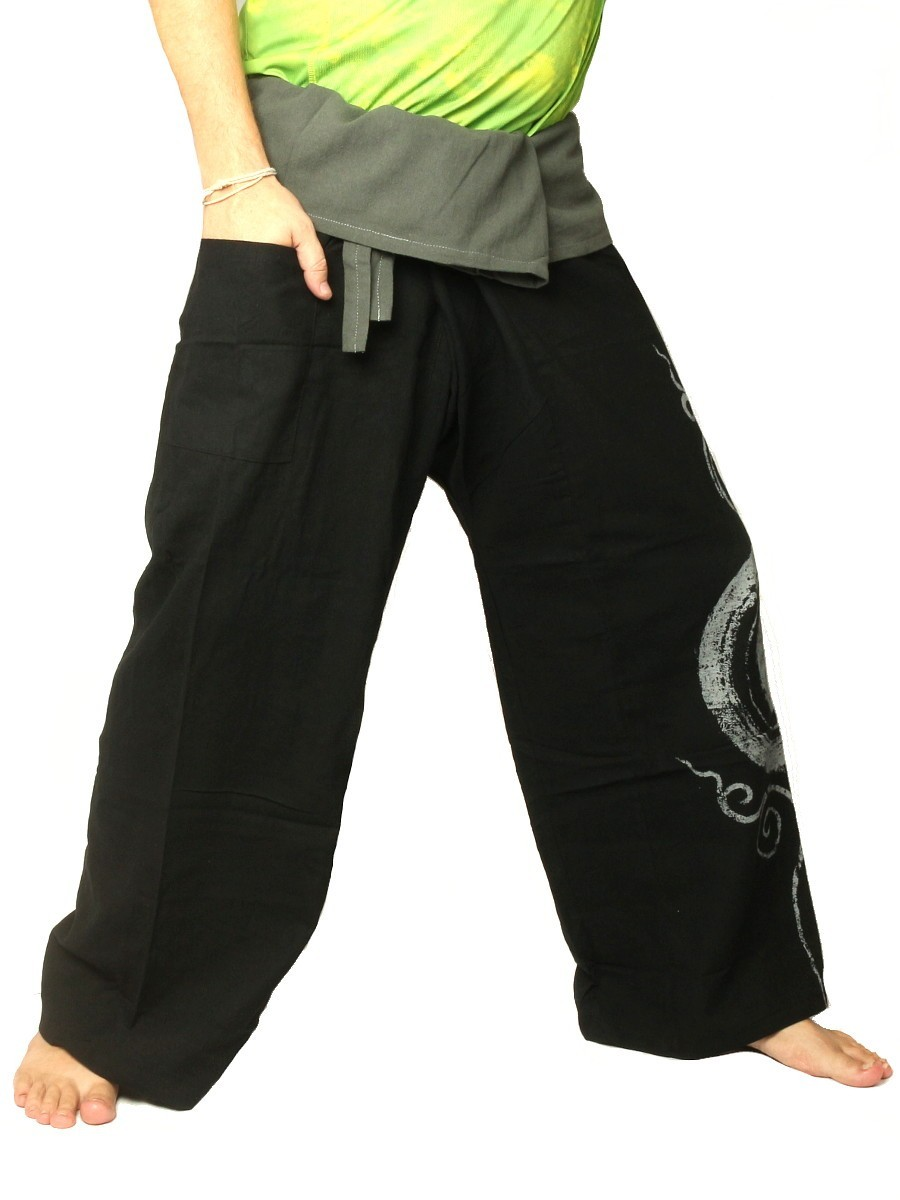 Thai Fisherman Pants Boho Hippie Swirl Print Cotton Extra Long Black