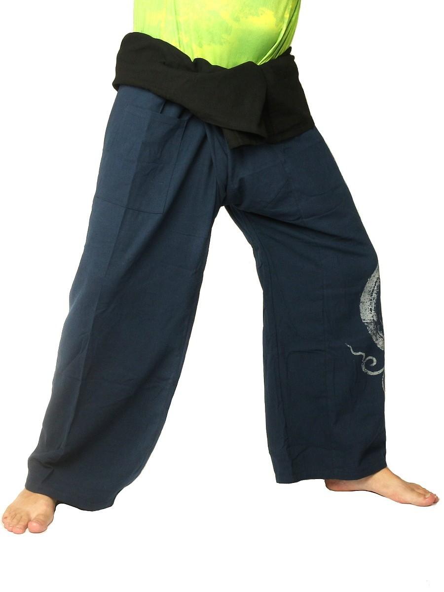 Thai Fisherman Pants Boho Hippie Swirl Print Cotton Extra Long Blue