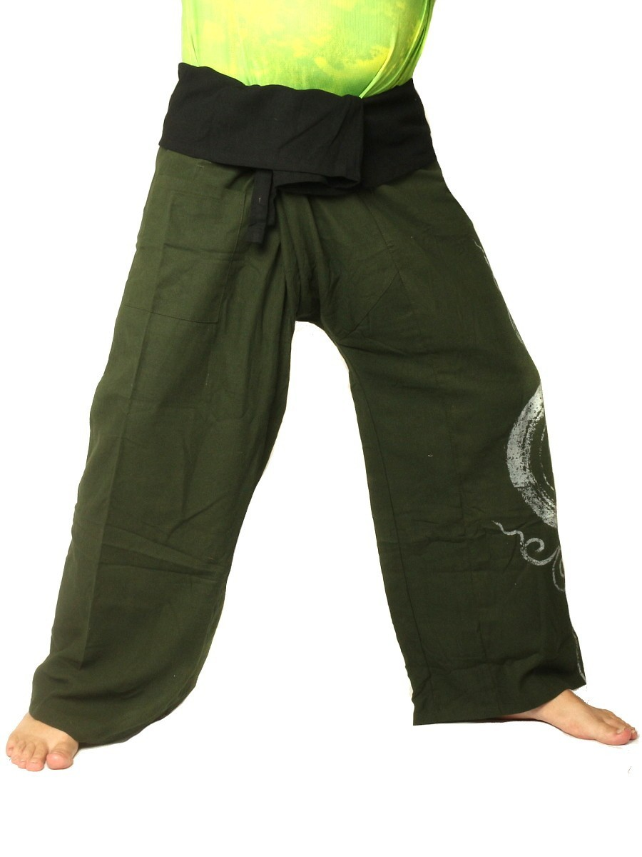 Thai Fisherman Pants Boho Hippie Swirl Print Cotton Extra Long Olive Green