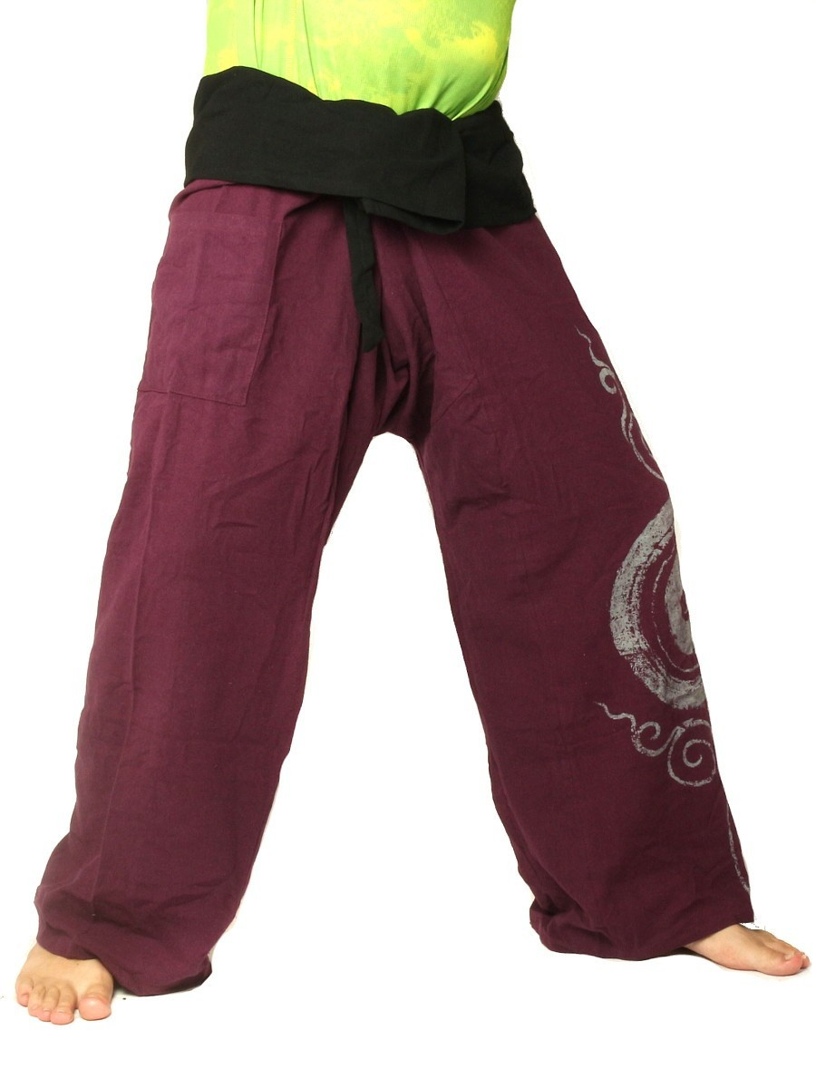 Thai Fisherman Pants Boho Hippie Swirl Print Cotton Extra Long Purple