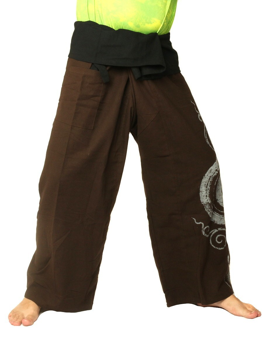 Thai Fisherman Pants Boho Hippie Swirl Print Cotton Extra Long Dark Brown