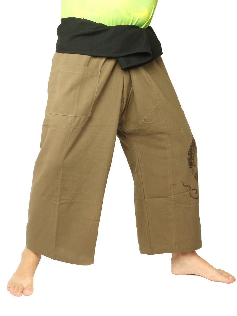 Thai Fisherman Pants Boho Hippie Swirl Print Cotton Dark Khaki