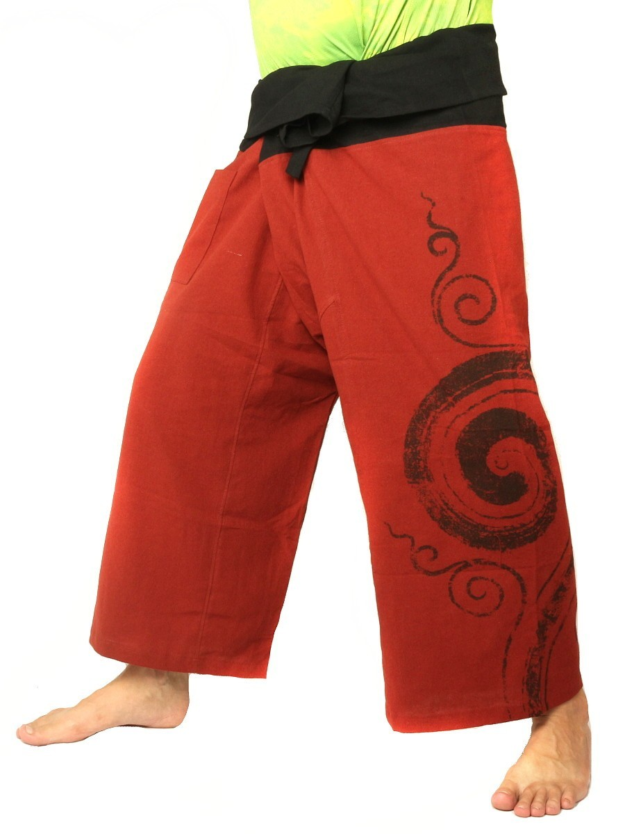 Thai Fisherman Pants Boho Hippie Swirl Print Cotton Dark Orange