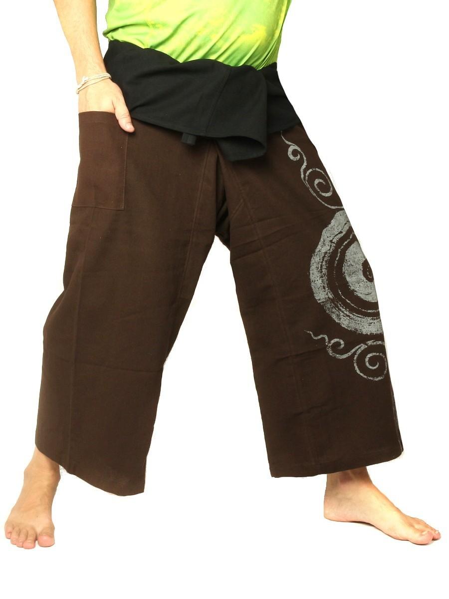 Thai Fisherman Pants Boho Hippie Swirl Print Cotton Dark Brown