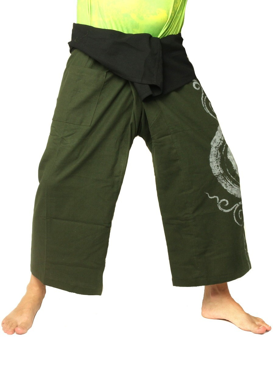 Thai Fisherman Pants Boho Hippie Swirl Print Cotton Olive Green