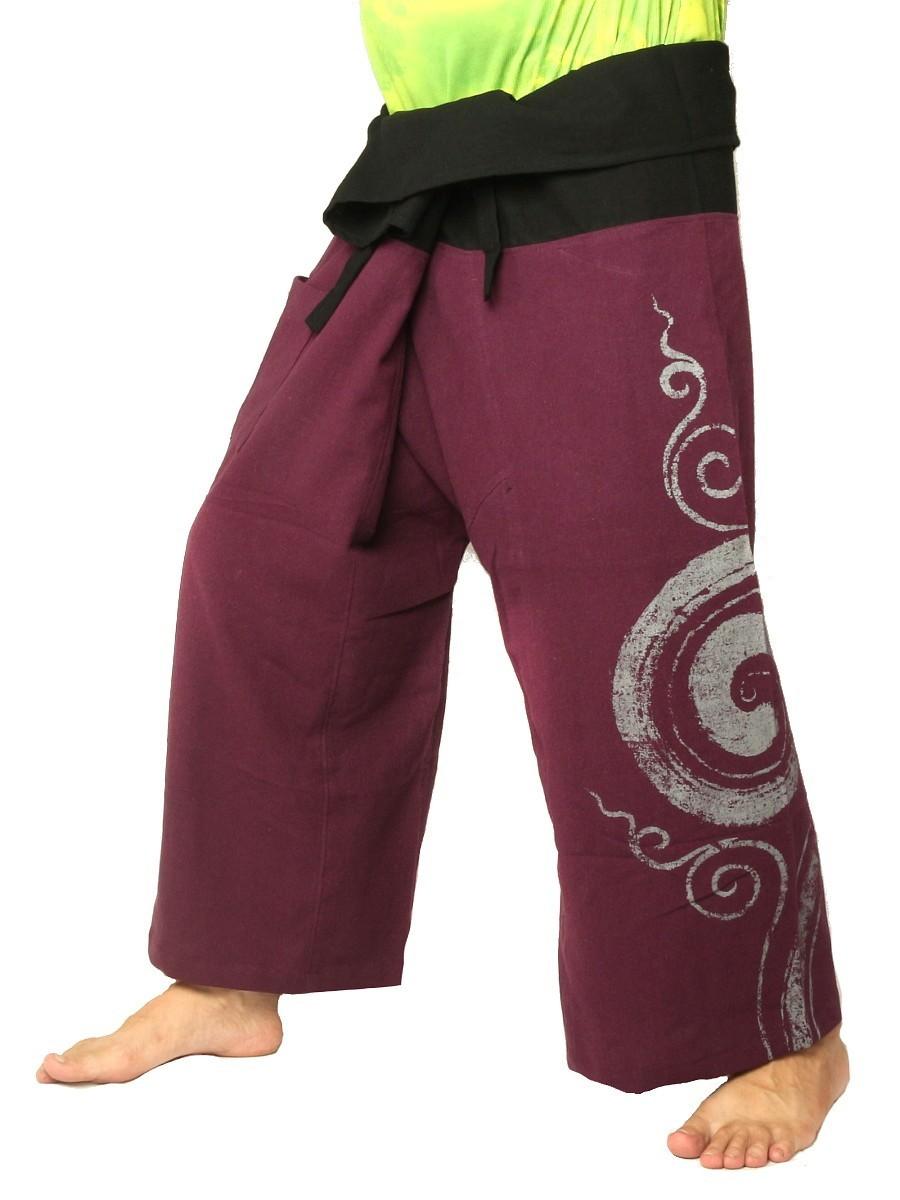 Thai Fisherman Pants Boho Hippie Swirl Print Cotton Purple