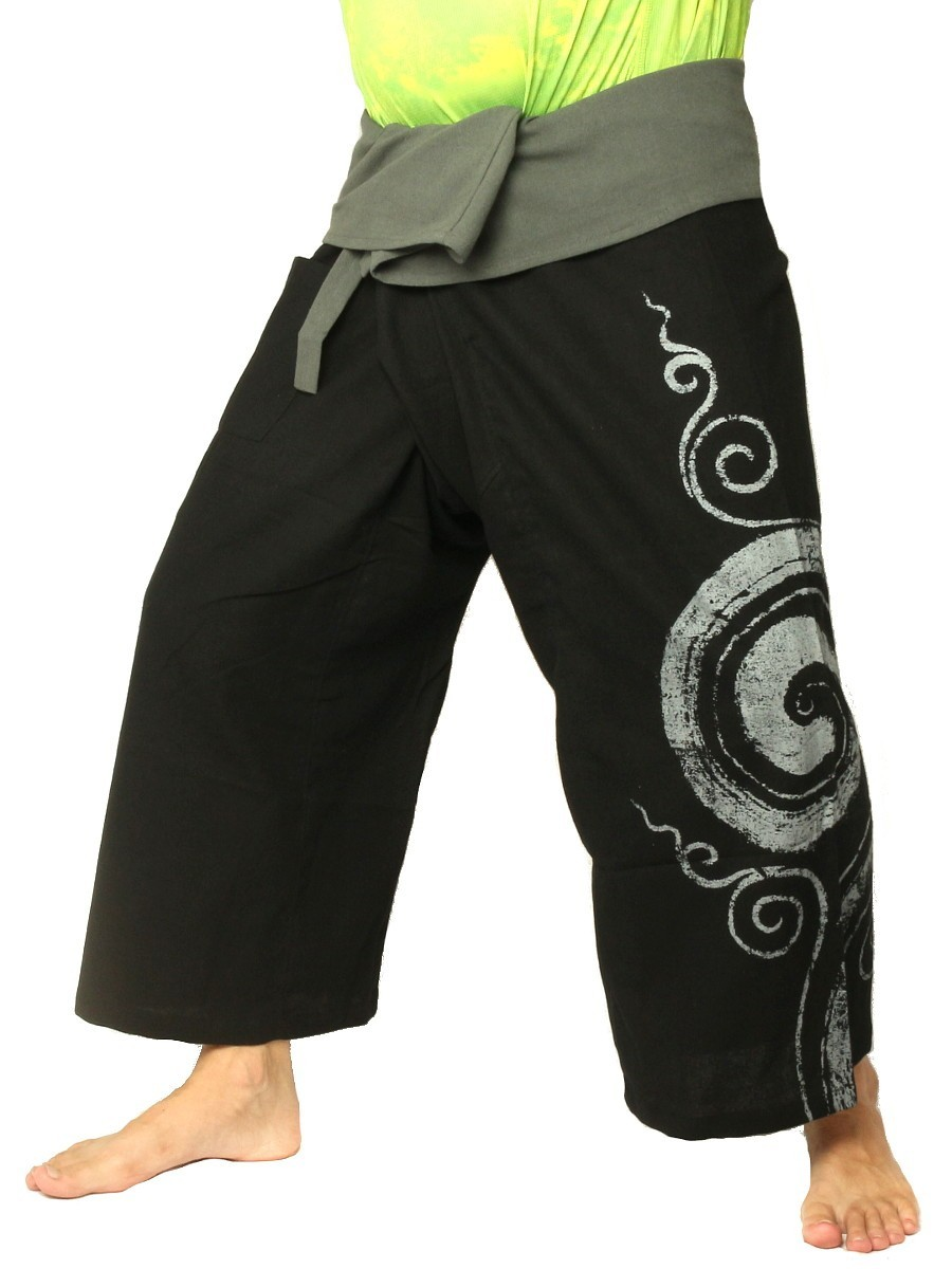Thai Fisherman Pants Boho Hippie Swirl Print Cotton Black