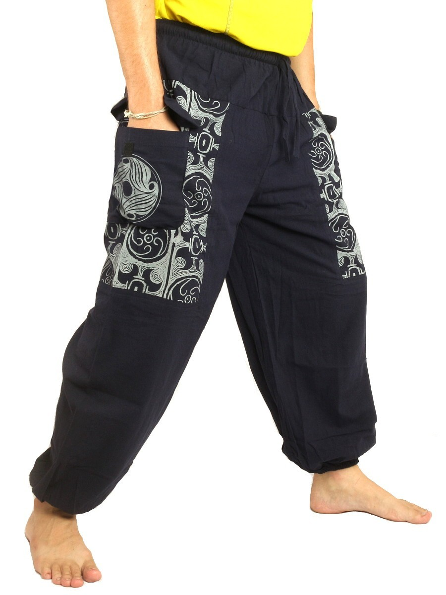 Casual Boho Pants Ethnic Print Soft Cotton Dark Blue