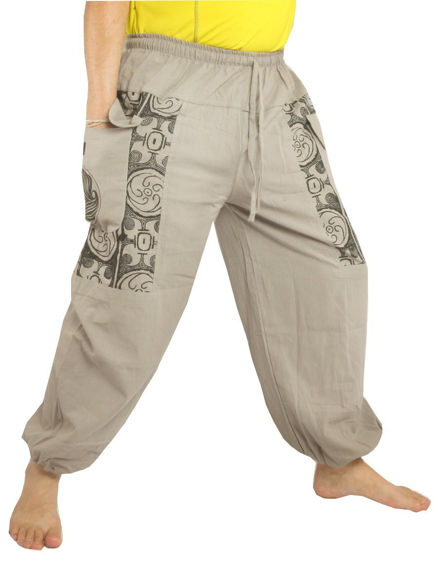 Casual Boho Pants Ethnic Print Soft Cotton Light Grey
