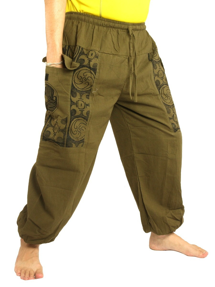 Casual Boho Pants Ethnic Print Soft Cotton Olive Green