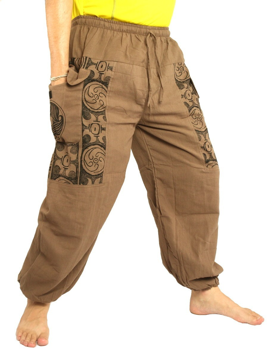 Casual Boho Pants Ethnic Print Soft Cotton Dark Khaki