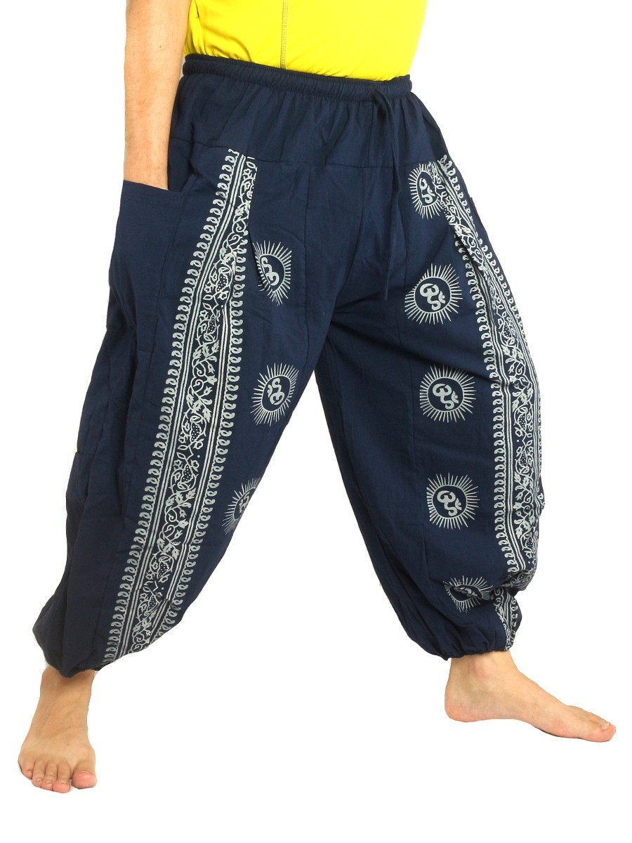 High Cut Harem Pants Boho Hippie Om Floral Print Soft Cotton Dark Blue