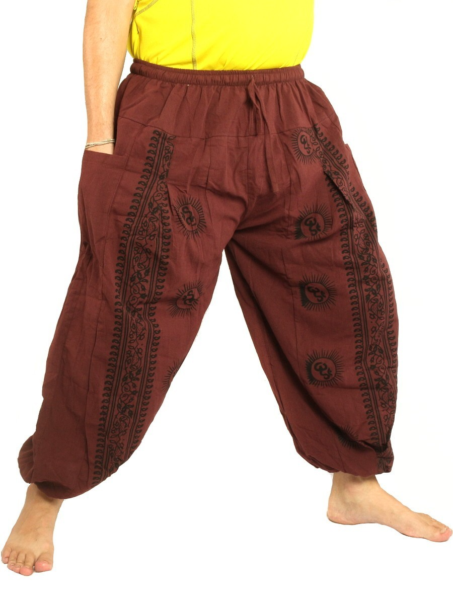 High Cut Harem Pants Boho Hippie Om Floral Print Soft Cotton Red Brown