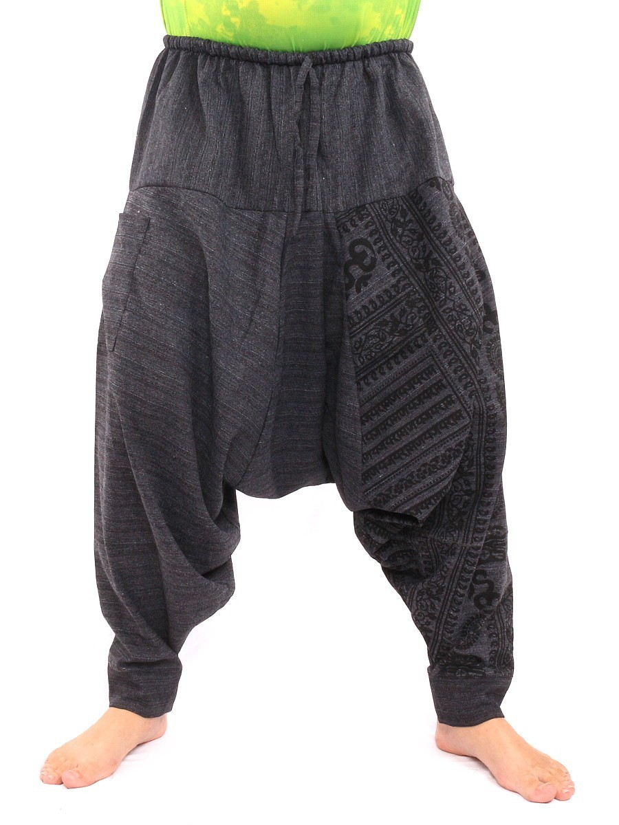 Baggy Aladdin Harem Pants With Sanskrit Symbols Print One Size Black