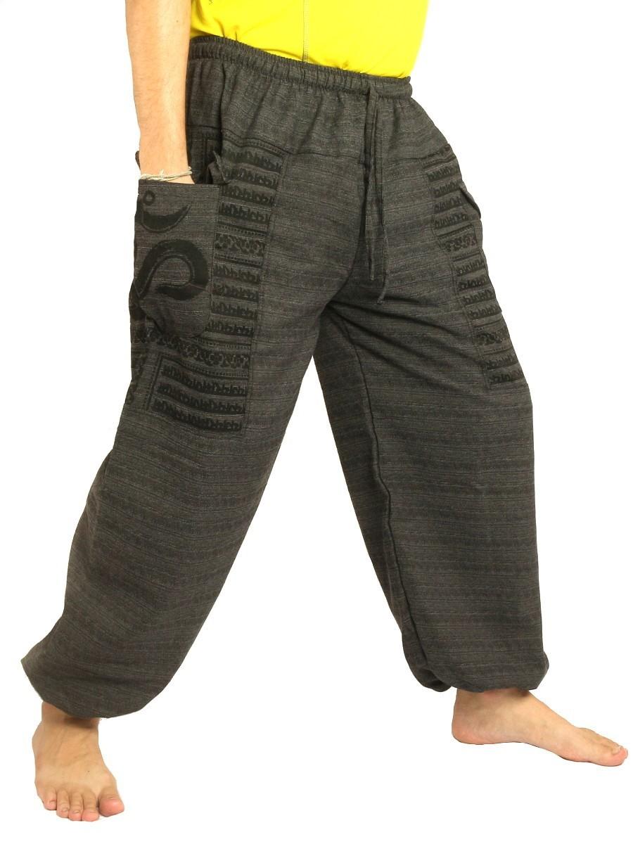 High Cut Harem Pants Boho Hippie Om Floral Print Soft Cotton-Mix Black