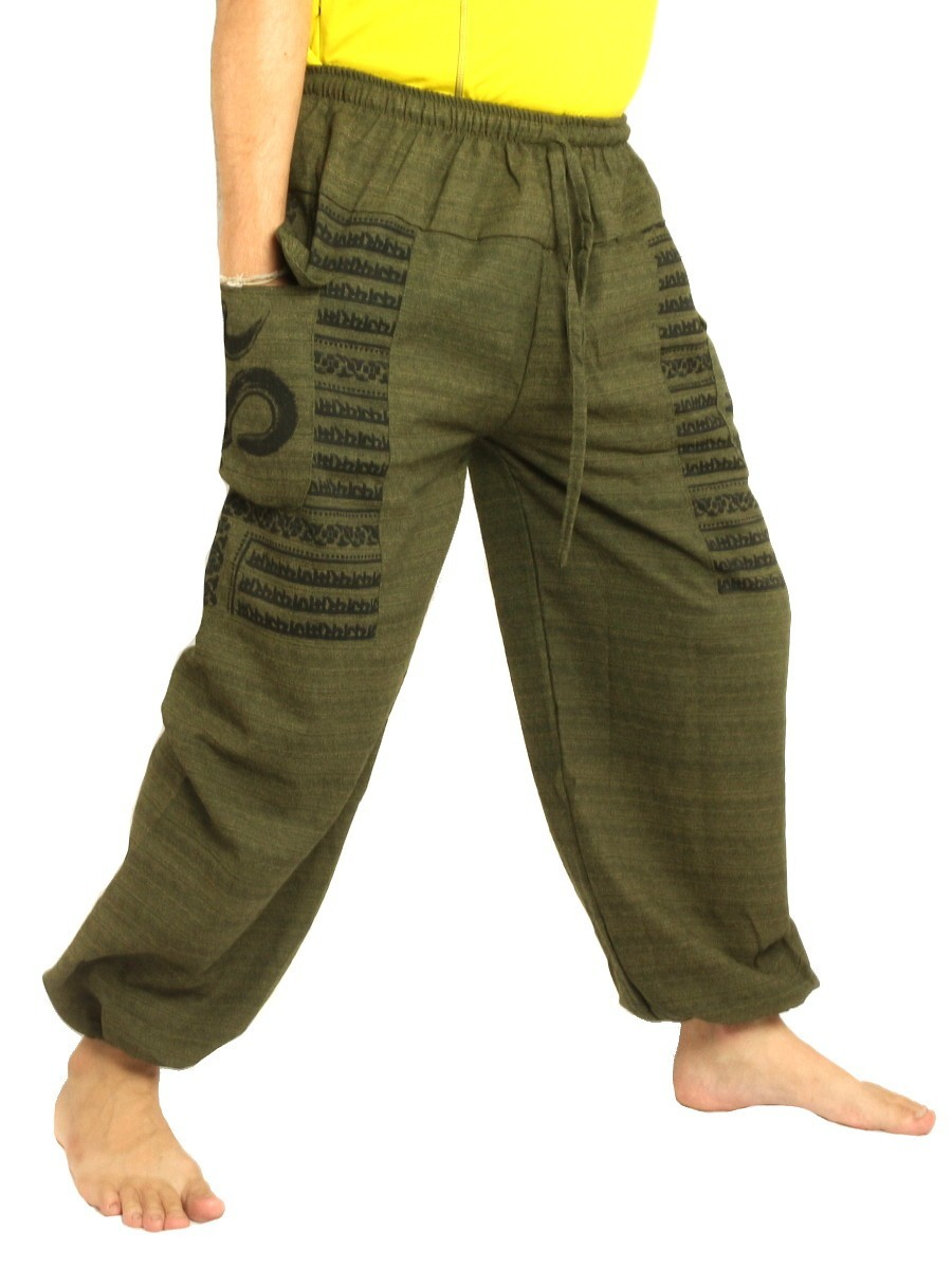 High Cut Harem Pants Boho Hippie Om Floral Print Soft Cotton-Mix Olive Green