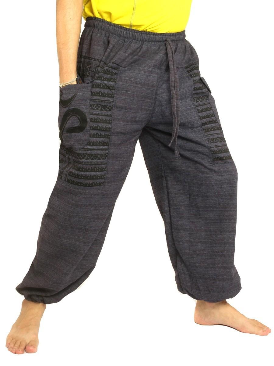 High Cut Harem Pants Boho Hippie Om Floral Print Soft Cotton-Mix Dark Blue
