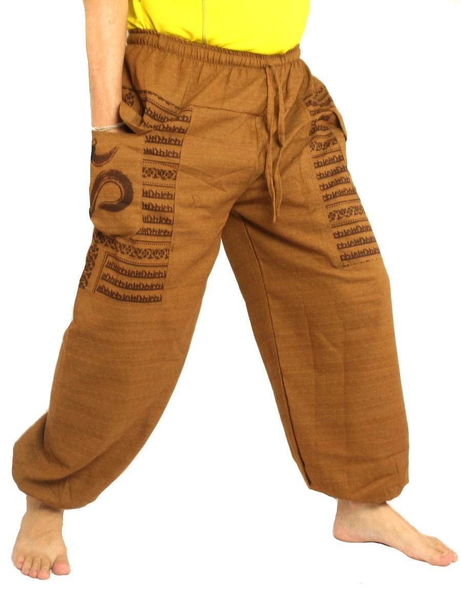 High Cut Harem Pants Boho Hippie Om Floral Print Soft Cotton-Mix Beige