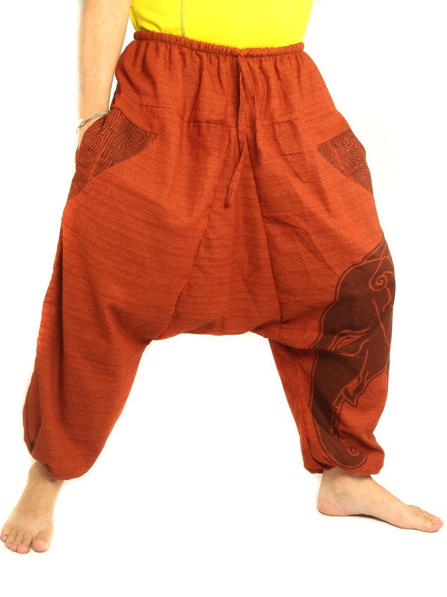High Cut Harem Pants Boho Hippie Elefant Print Cotton Mix Orange