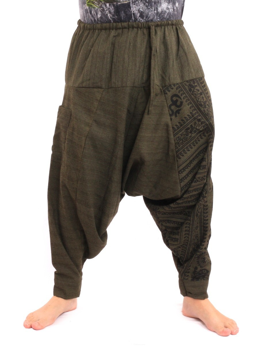Baggy Aladdin Harem Pants With Sanskrit Symbols Print One Size Green