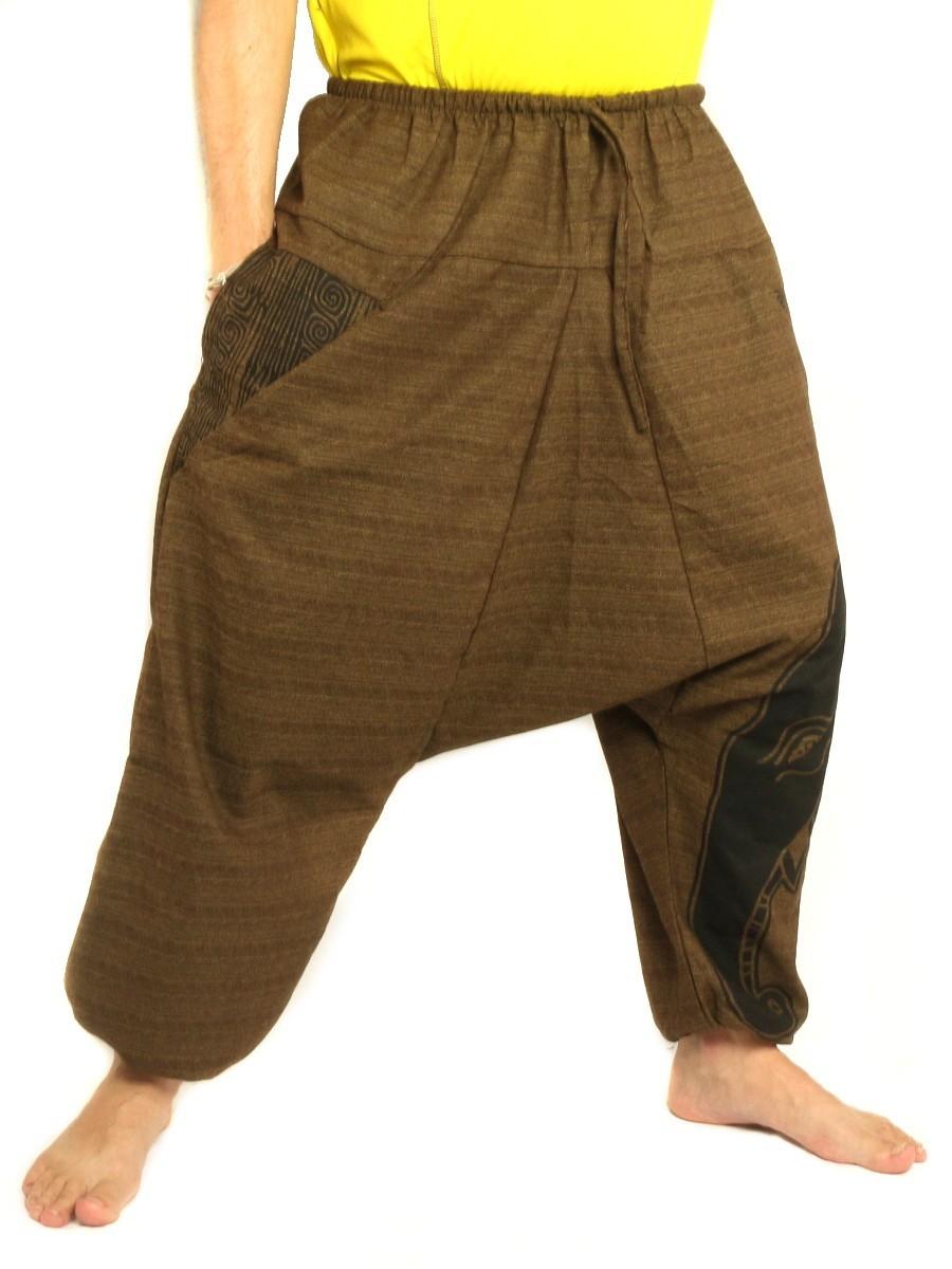 High Cut Harem Pants Boho Hippie Elefant Print Cotton Mix Brown