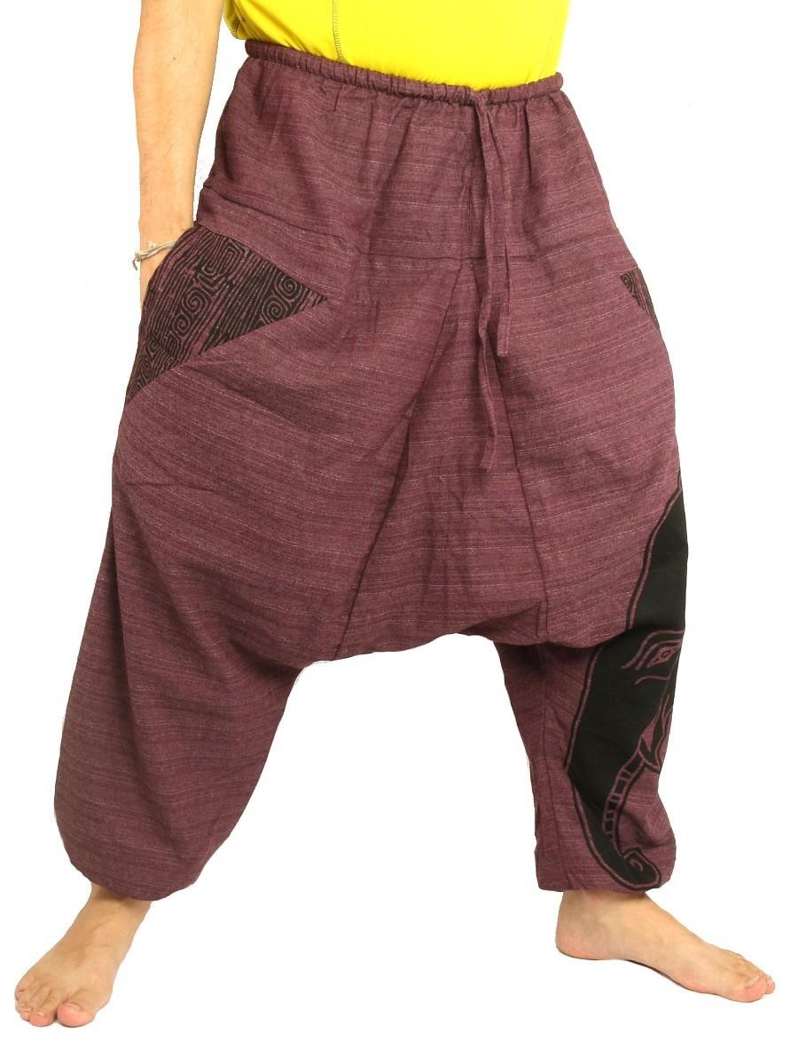 High Cut Harem Pants Boho Hippie Elefant Print Cotton Mix Purple