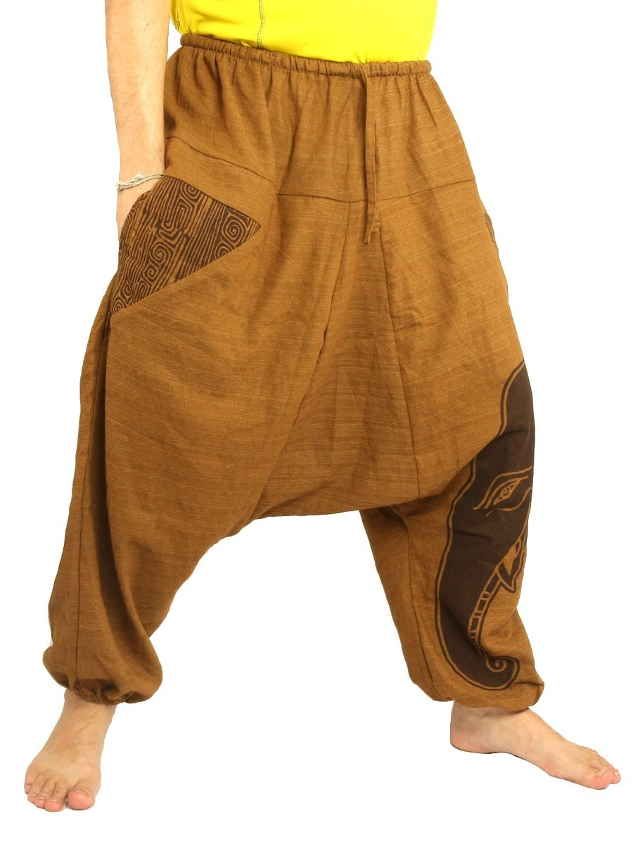 High Cut Harem Pants Boho Hippie Elefant Print Cotton Mix Beige