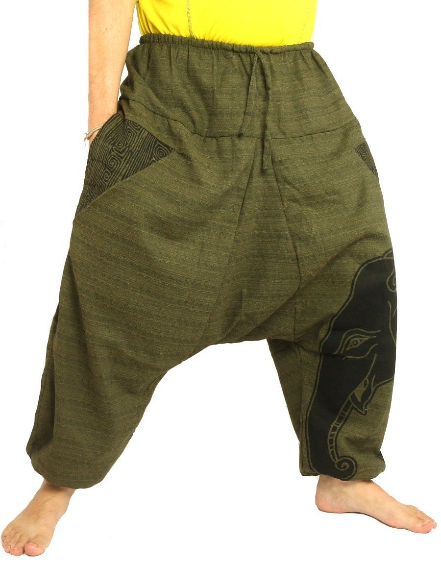 High Cut Harem Pants Boho Hippie Elefant Print Cotton Mix Olive Green