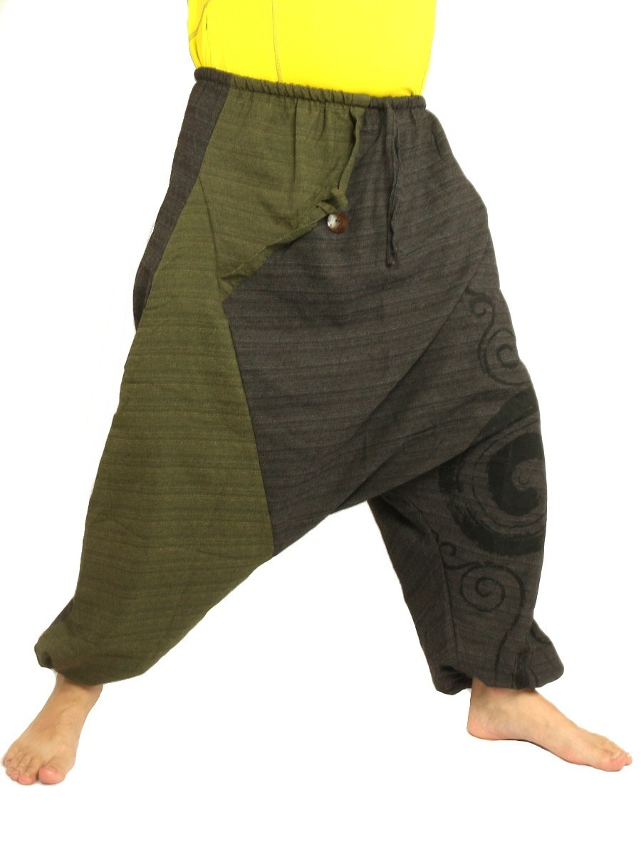 Harem Pants Boho Hippie Two-Tone Cotton-Mix Swirl Print Dark Grey/Green