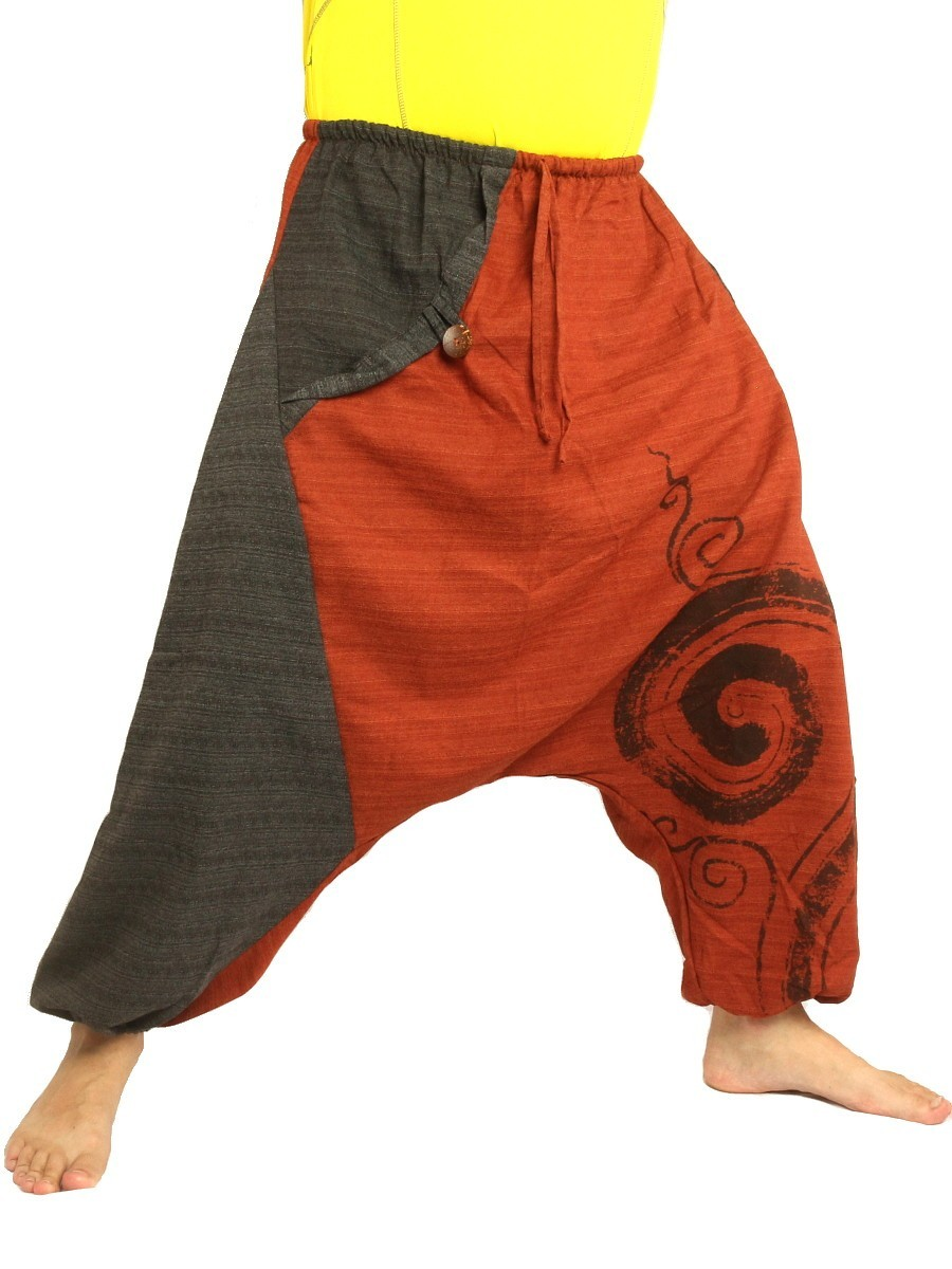 Harem Pants Boho Hippie Two-Tone Cotton-Mix Swirl Print Orange/Dark Grey