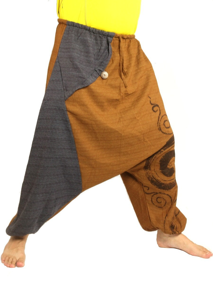 Harem Pants Boho Hippie Two-Tone Cotton-Mix Swirl Print Brown/Dark Grey