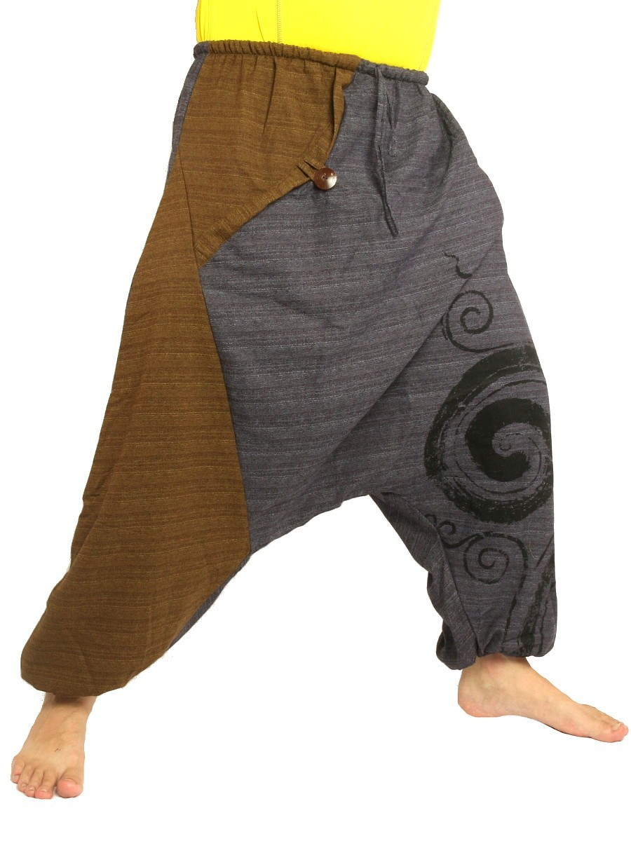 Harem Pants Boho Hippie Two-Tone Cotton-Mix Swirl Print Dark Grey/Dark Brown