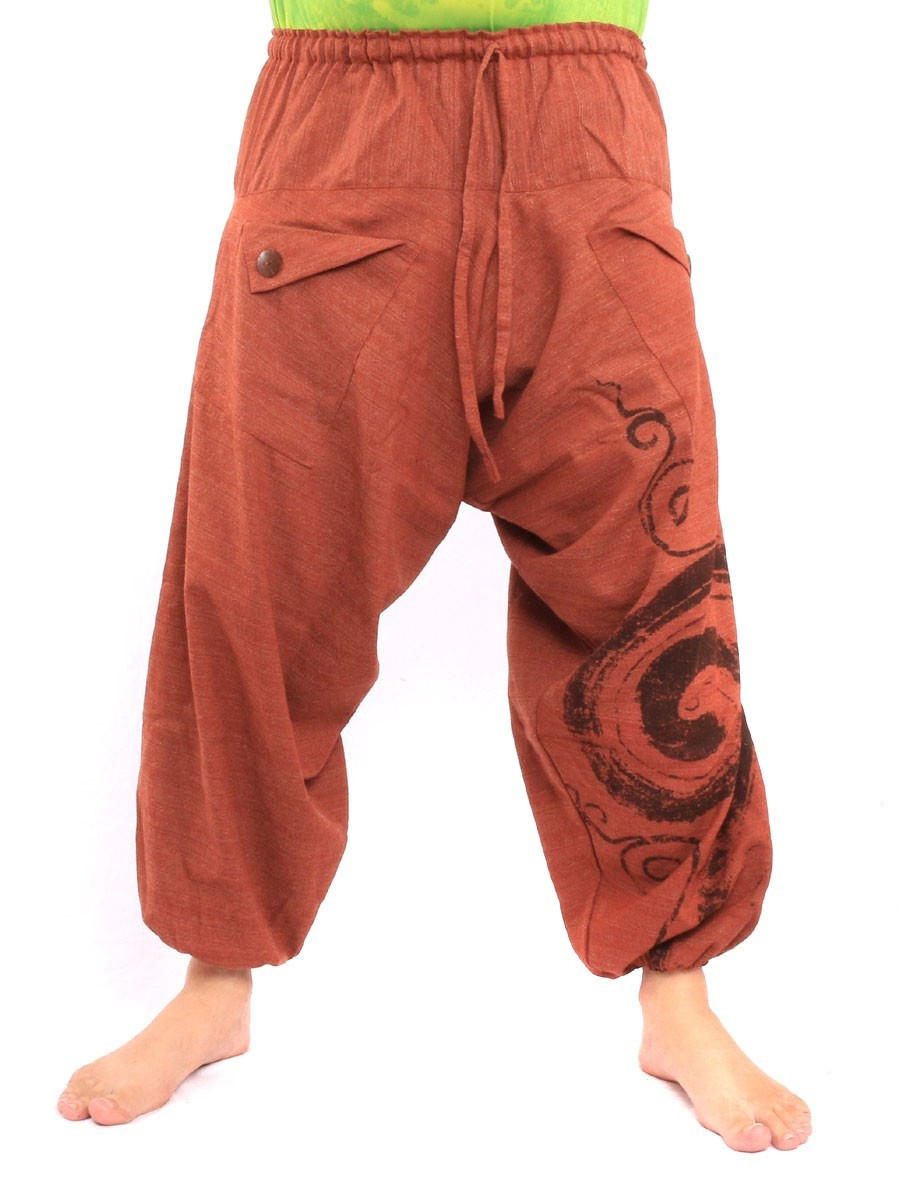 Harem Saruel Pants With Spiral Print  One Size Orange