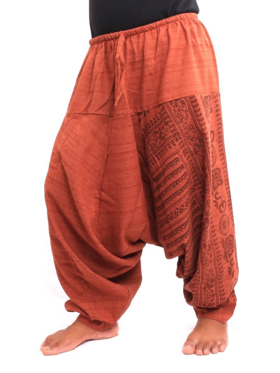 Baggy Aladdin Harem Pants With Sanskrit Symbols Print One Size Brown