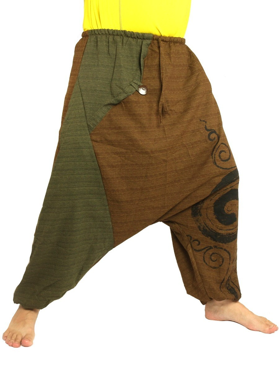 Harem Pants Boho Hippie Two-Tone Cotton-Mix Swirl Print Brown/Green