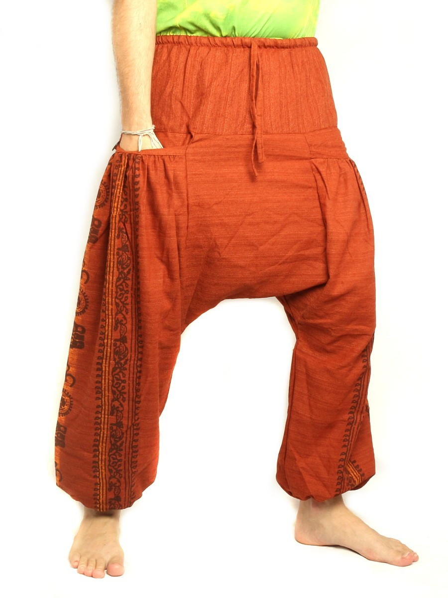 Harem Pants Boho Hippie Floral Cultural Pattern Print Cotton Orange