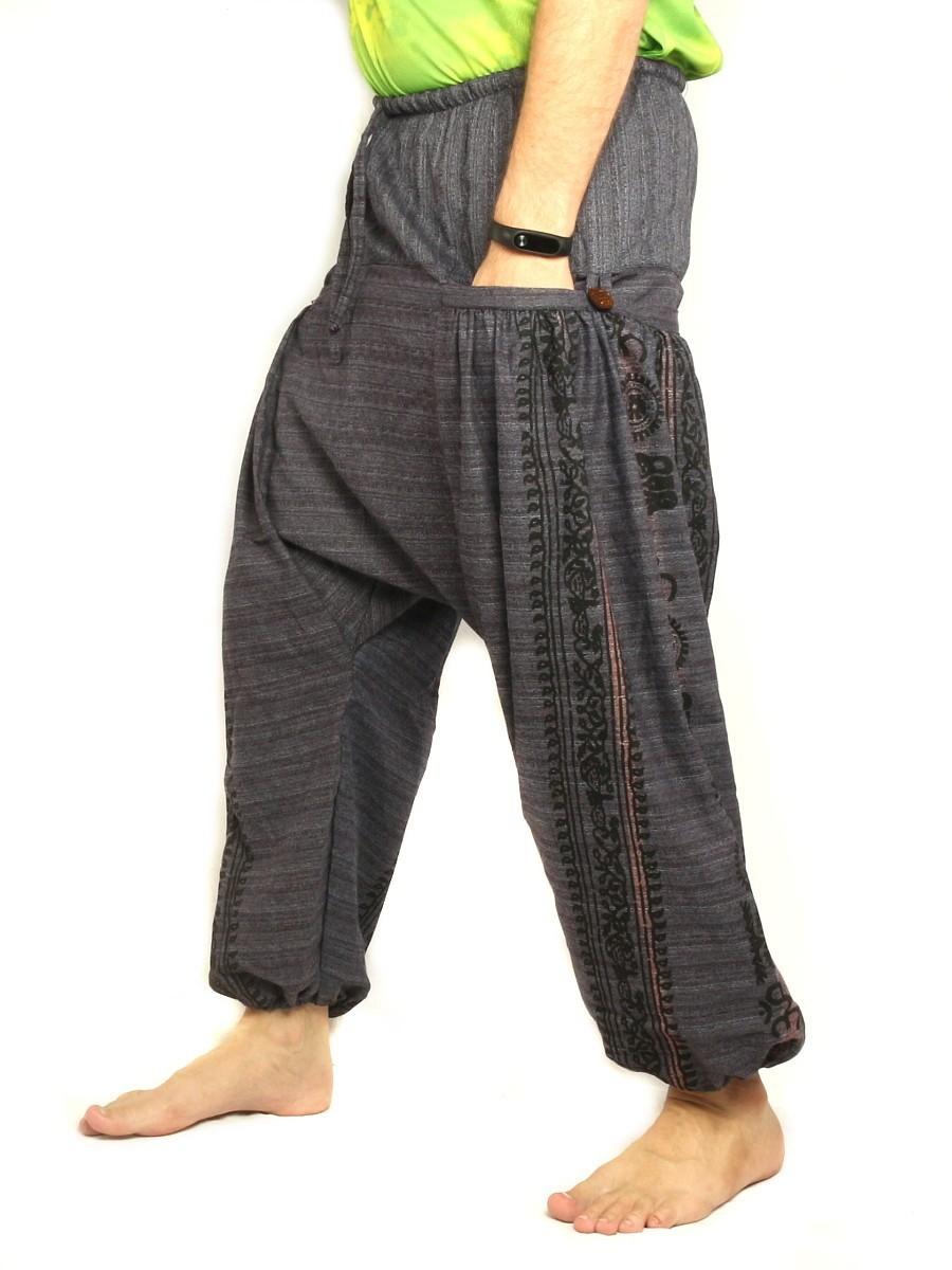 Harem Pants Boho Hippie Floral Cultural Pattern Print Cotton Antracite