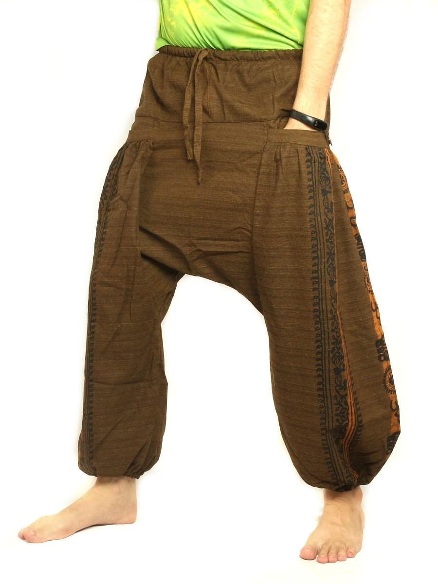 Harem Pants Boho Hippie Floral Cultural Pattern Print Cotton Dark Brown