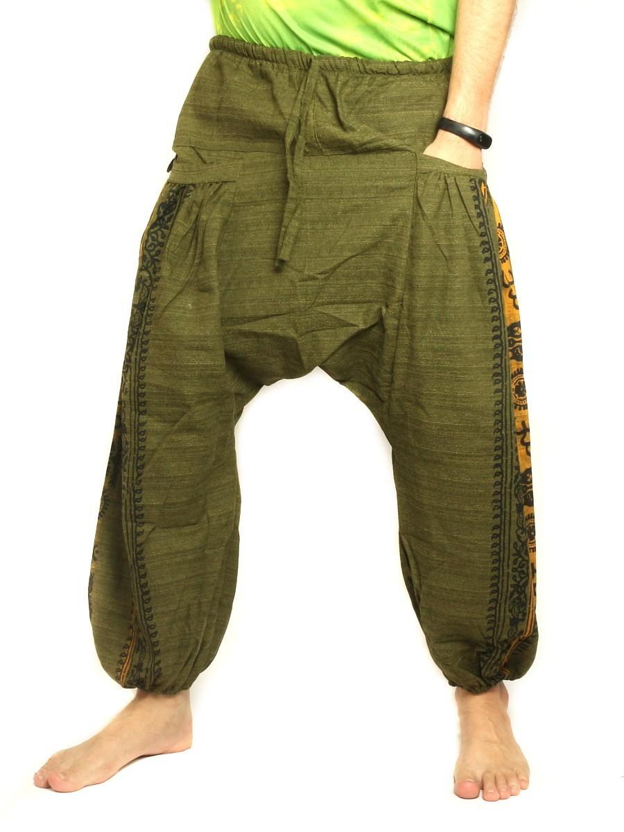 Harem Pants Boho Hippie Floral Cultural Pattern Print Cotton Olive Green