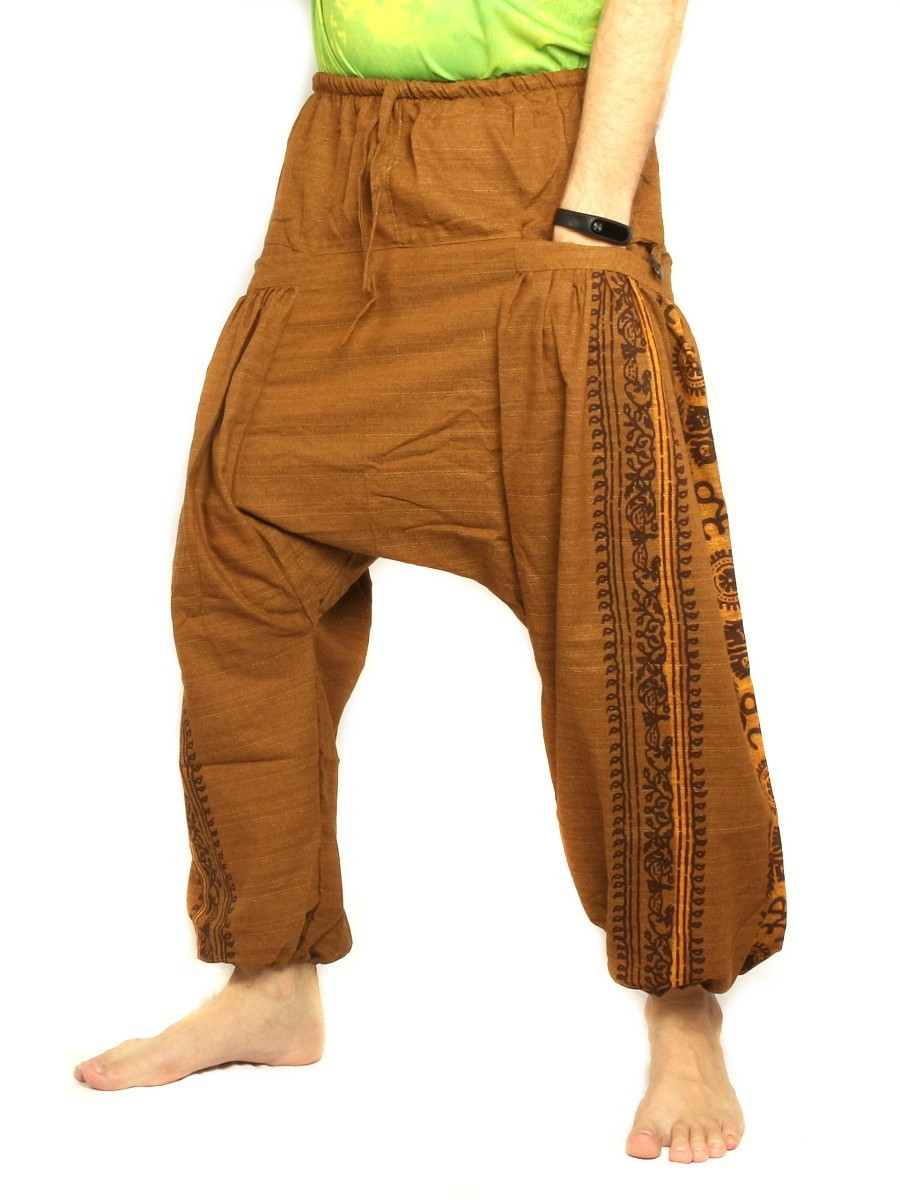 Harem Pants Boho Hippie Floral Cultural Pattern Print Cotton Light Brown