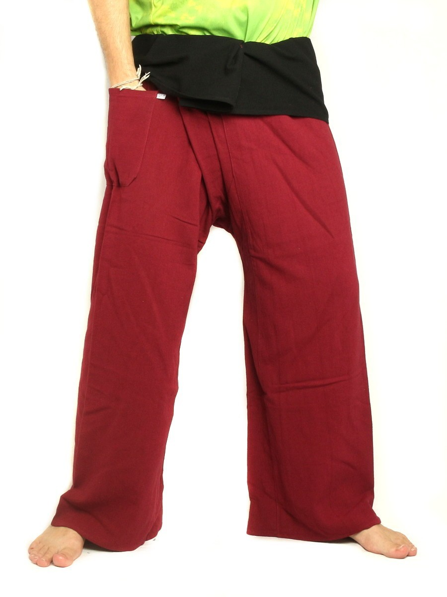 Thai Fisherman Pants Extra Long High Quality Cotton 2 Tone With One Side Pocket Dark Red / Black